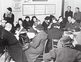 Waiting room of the Aid Association of Jews in Germany, Berlin, around 1935.