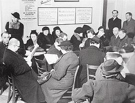 Wartesaal des Hilfsvereins der Juden in Deutschland, Berlin, um 1935