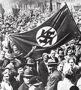 Three arrows—symbol of the Iron Front, demonstration in Berlin on May 1, 1932.