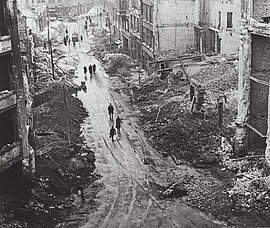 Berlin streets destroyed by air raids, early February 1944.