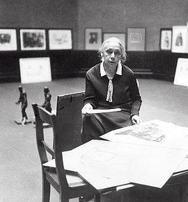 Käthe Kollwitz at the Academy of Arts, Berlin, 1927.