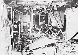 "The damaged briefing room of the ""Wolf's Lair Führer Headquarters"" immediately after the attempt to assassinate Hitler on July 20, 1944."