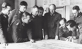 Briefing of the staff of the Army Group Center on the Eastern Front in 1943.
